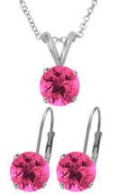 Silver 6mm SWAROVSKI® Elements Rose Pendant & Leverback Earrings Set