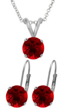 Silver 6mm SWAROVSKI® Elements Ruby Pendant & Leverback Earrings Set