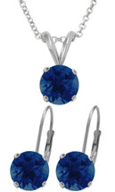 Silver 6mm SWAROVSKI® Elements Sapphire Pendant & Leverback Earrings Set