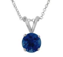 Sterling Silver 6mm SWAROVSKI® Elements Dark Blue Pendant