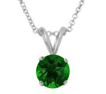 Sterling Silver 6mm SWAROVSKI® Elements Emerald Pendant