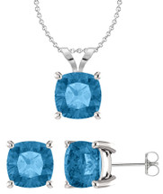 Genuine Sterling Silver 6mm Cushion CHOOSE YOUR STONE Pendant & Earring Set