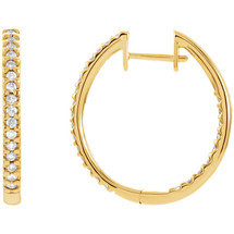 14 Karat Yellow Gold Inside / Outside Diamond Hoop Earrings