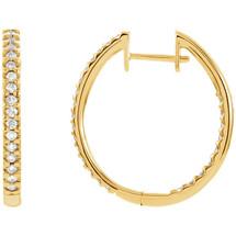 14 Karat Yellow Gold Inside / Outside Diamond Hoop Earrings