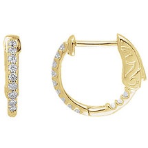 14 Karat Yellow Gold Diamond Inside / Outside Hoop Earrings