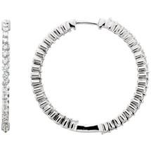 Diamond 14 Karat White Gold Inside / Outside Hoop Earrings
