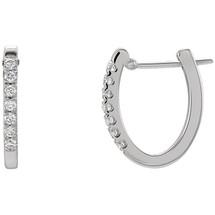 Diamond 14 Karat White Gold Hoop Earrings