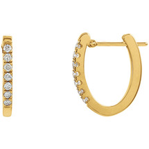 Diamond 14 Karat Yellow Gold Hoop Earrings