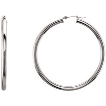 14 Karat White Gold 48mm Hoop Earrings