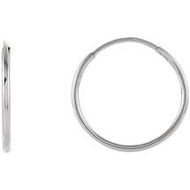 14 Karat White Gold 15mm Endless Hoop Earrings
