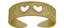 10 Karat Yellow Gold Double Heart Toe Ring
