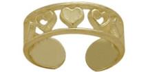 10 Karat Yellow Gold Seven Heart Toe Ring