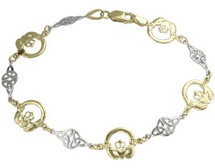 10 Karat Two-Tone Claddagh Bracelet