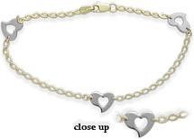 14 Karat Two-Tone Heart Bracelet