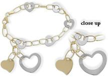 Two-Tone 14 Karat Heart Bracelet