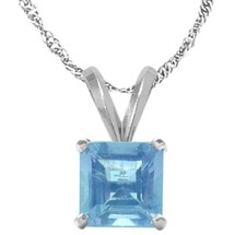 14 Karat White Gold CHOOSE YOUR GEMSTONE Princess Cut Square Pendant