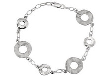 Genuine Sterling Silver Round Link Bracelet
