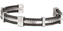 Titanium & Black Cable 8.5 Inch Cuff Bracelet