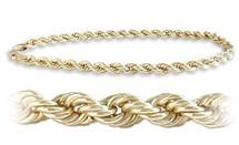 Ladies Yellow Gold 4mm wide 10 karat Rope Styled Bracelet