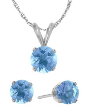 14K White Gold CHOOSE YOUR GEMSTONE Solitaire Pendant and Earrings Set