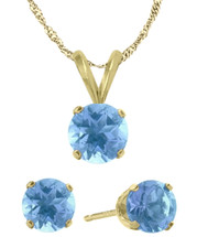 14K Yellow Gold CHOOSE YOUR GEMSTONE Solitaire Pendant and Earrings Set