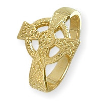 Ladies 10 Karat Yellow Gold Religious Celtic Cross Ring