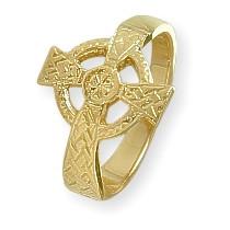Ladies 10 Karat Yellow Gold Religious Celtic Cross Ring