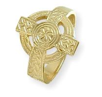 Men's 10 Karat Yellow Gold Religious Celtic Cross Ring