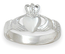 10 Karat White Gold Celtic Claddagh Ring