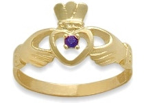 Ladies 10 Karat Yellow Gold Amethyst Claddagh Ring
