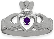 Ladies 10 Karat White Gold Amethyst Claddagh Ring