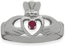 Ladies 10 Karat White Gold Ruby Claddagh Ring