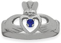 Ladies 10 Karat White Gold Sapphire Claddagh Ring