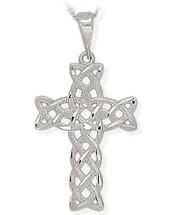 White Gold Detailed Religious Celtic Cross