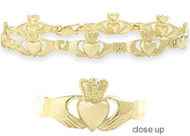 Large Yellow Gold Claddagh Bracelet