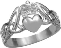 10 Karat White Gold Claddagh Knot Ring