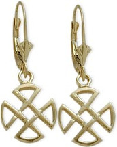 10 Karat Yellow Gold Four Trinity Celtic Earrings