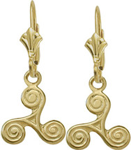 10 Karat Yellow Gold Triskele Celtic Earrings