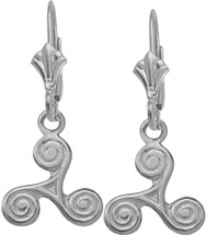 10 Karat White Gold Triskele Earrings