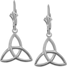 10 Karat White Gold Trinity Knot Earrings