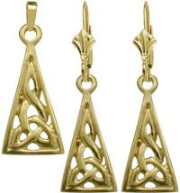 10 Karat Yellow Gold Celtic Earrings & Pendant Set with chain