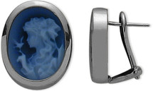 14 Karat White Gold Blue Agate Cameo Earrings