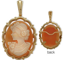 Fancy 14 Karat Yellow Gold Cornelian Shell Cameo Pendant