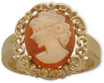 14 Karat Yellow Gold Cornelian Shell Cameo Ring