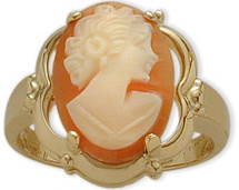 Cornelian Shell 14 Karat Yellow Gold Cameo Ring