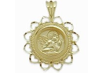 10 Karat Yellow Gold Guardian Angel Charm Pendant