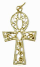 Diamond Cut Yellow Gold Ankh Charm Pendant