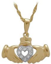 Yellow Gold Diamond Claddagh Pendant