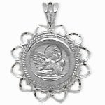 Sterling Silver Guardian Angel Charm Pendant