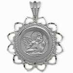 White Gold Guardian Angel Charm Pendant